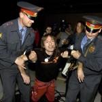 moskovská polícia zatknutiemrakodrapový lezec Francúz Alain Robert Spiderman pavúèí muž moskovský mrakodrap moskovská výšková budova výstup Rusko Moskva