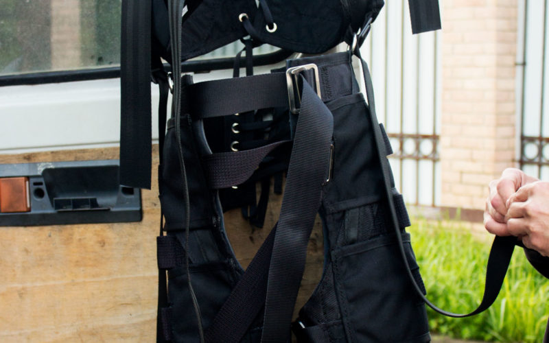 Custom stunt harness for jib arm